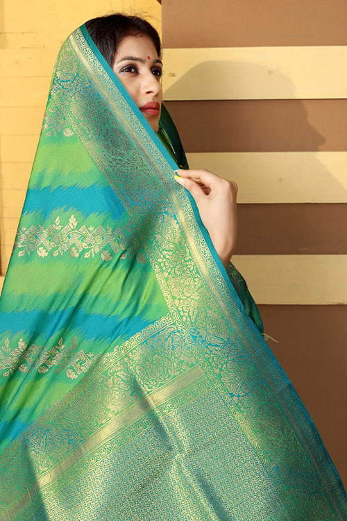 Soft silk weaving saree in Green dvz0001179 - dvanza