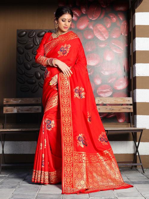 Soft silk weaving saree in Red dvz0001177 - dvanza