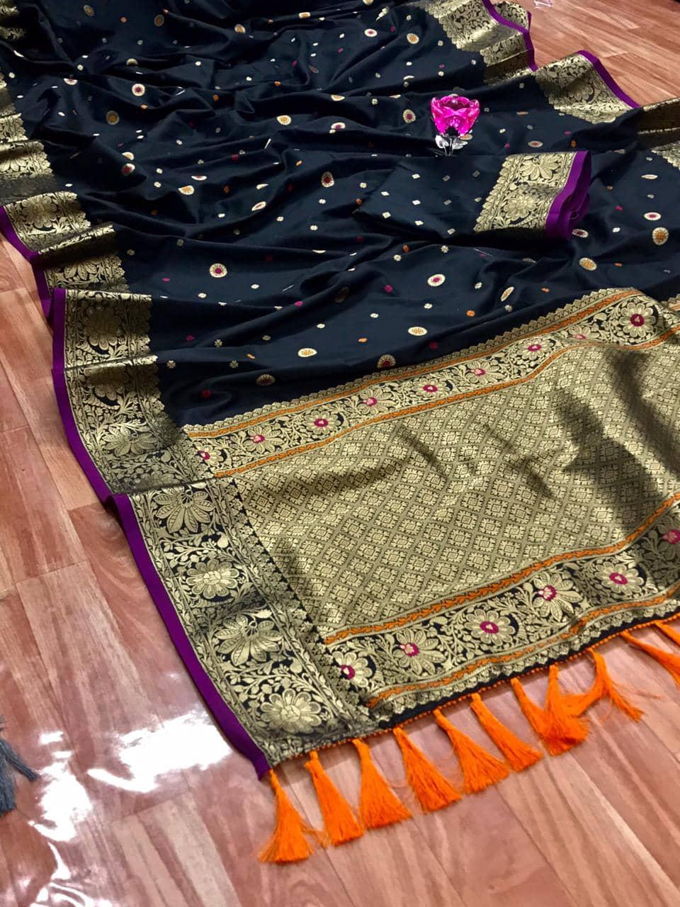Stunning Black Banarasi Soft Silk Saree dvz0002628
