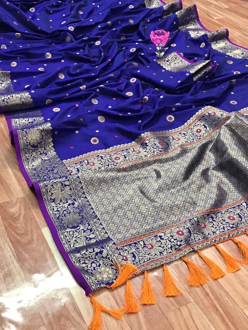 Stunning Blue Banarasi Soft Silk Saree dvz0002629