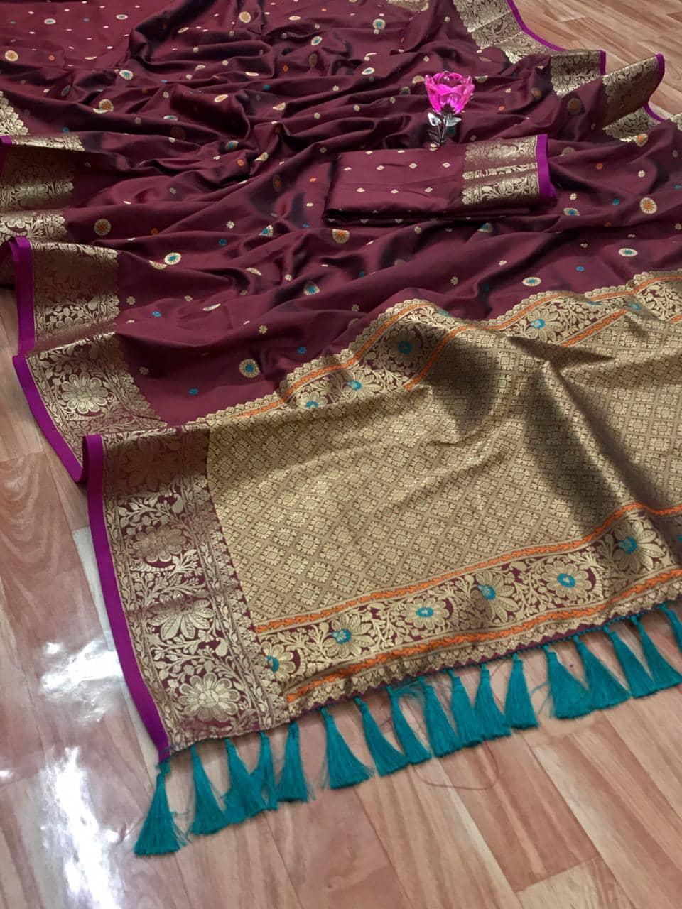 Stunning Brown Banarasi Soft Silk Saree dvz0002630