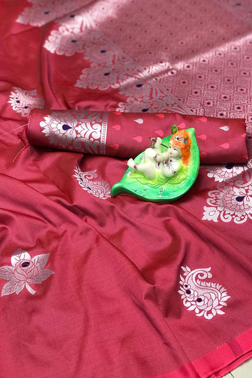 Stunning Peach Colored Soft Silk Saree online dvz0001164
