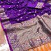Stunning Purple Banarasi Soft Silk Saree dvz0002632