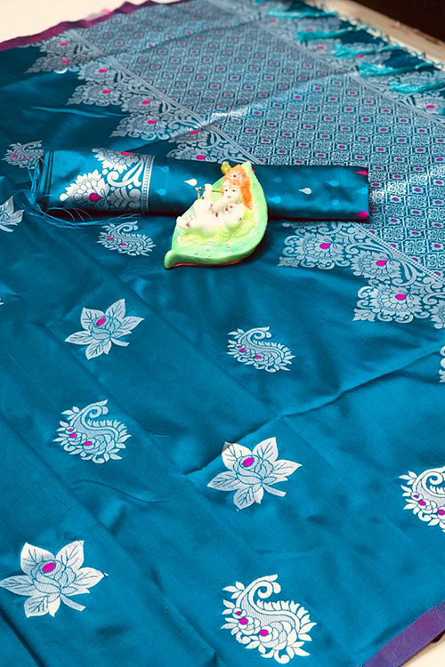 Stunning Sky Blue Colored Soft Silk Saree online dvz0001169 - dvanza.com