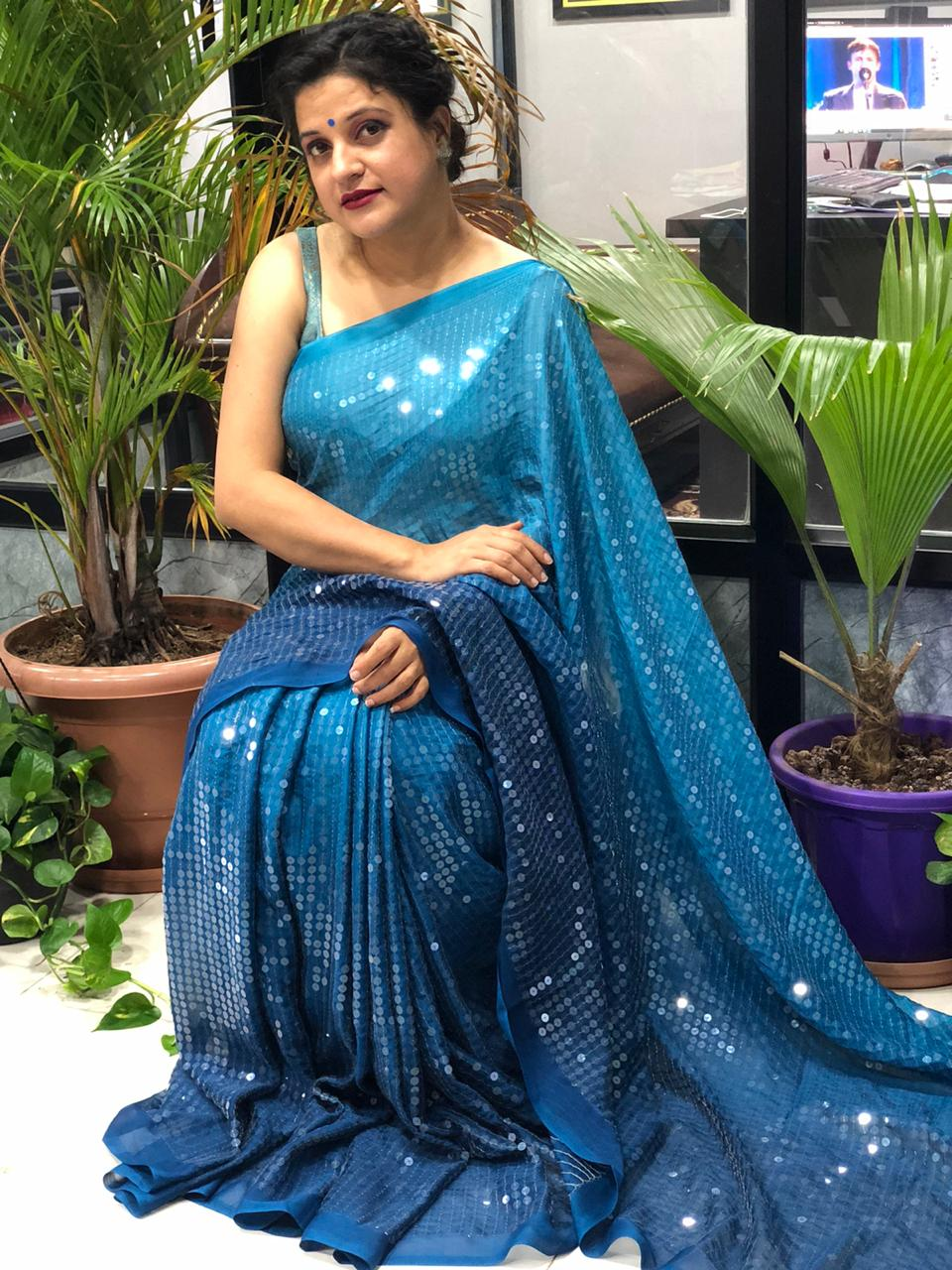 Stunning Two Tone shade Big Sequence Bollywood Style saree (Blue) dvz0001458