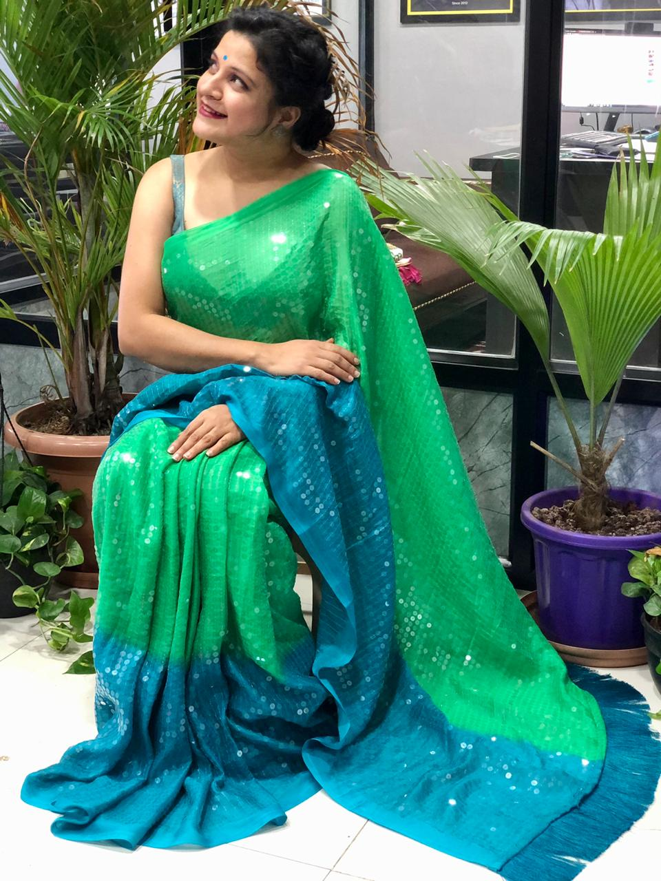 Stunning Two Tone shade Big Sequence Bollywood Style saree (Green) dvz0001457