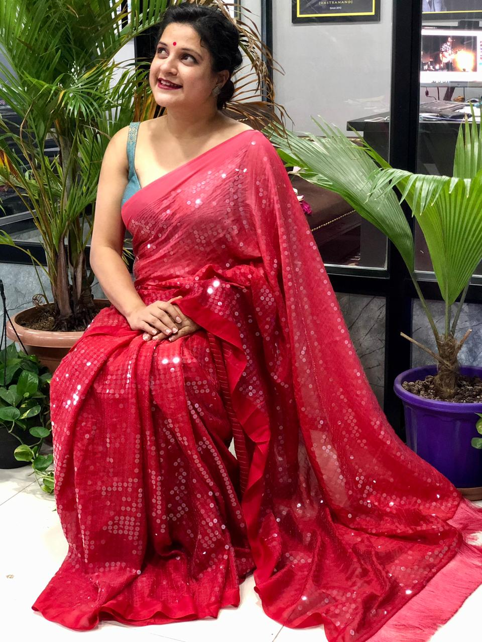 Stunning Two Tone shade Big Sequence Bollywood Style saree (Red) dvz0001460