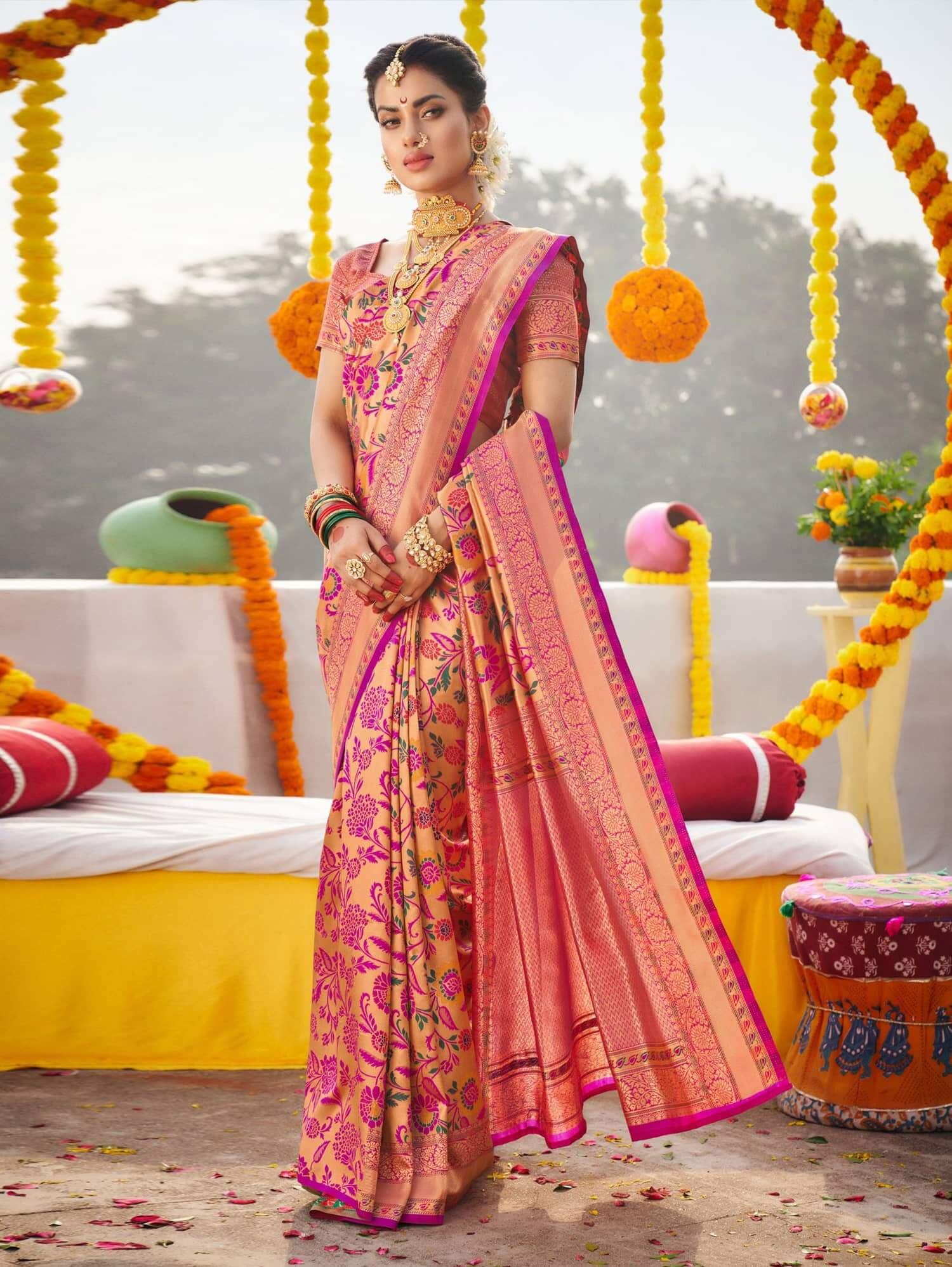 Stylish Kanchipuram Silk Bridal Saree dvz0002472