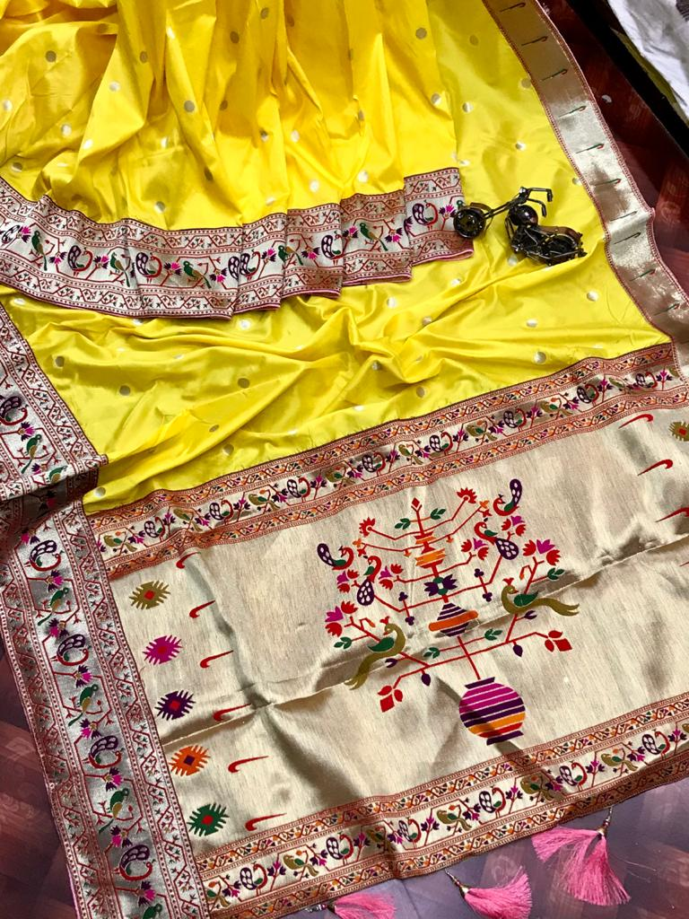 Stylish Paithani Pure silk saree in Yellow dvz0002597
