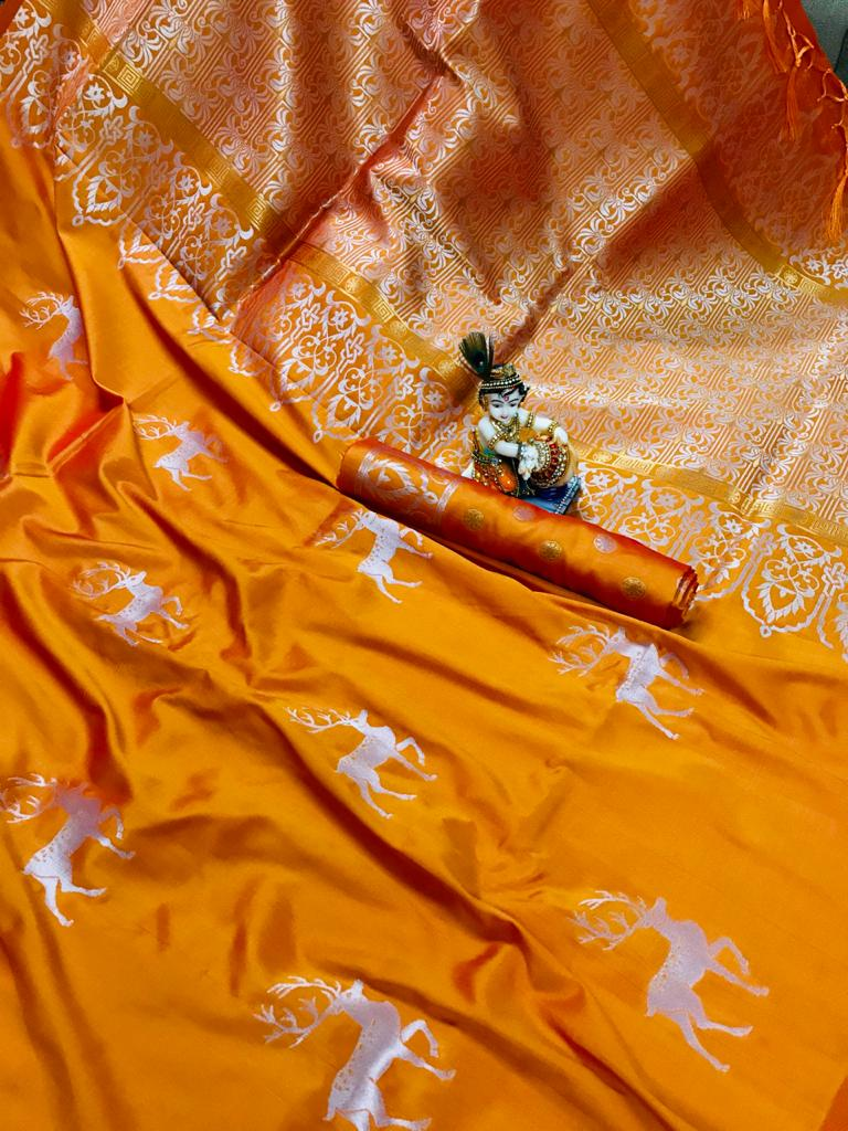 Traditional Two Tone Lichi Silk Hiran weaving Light Orange saree dvz0001702
