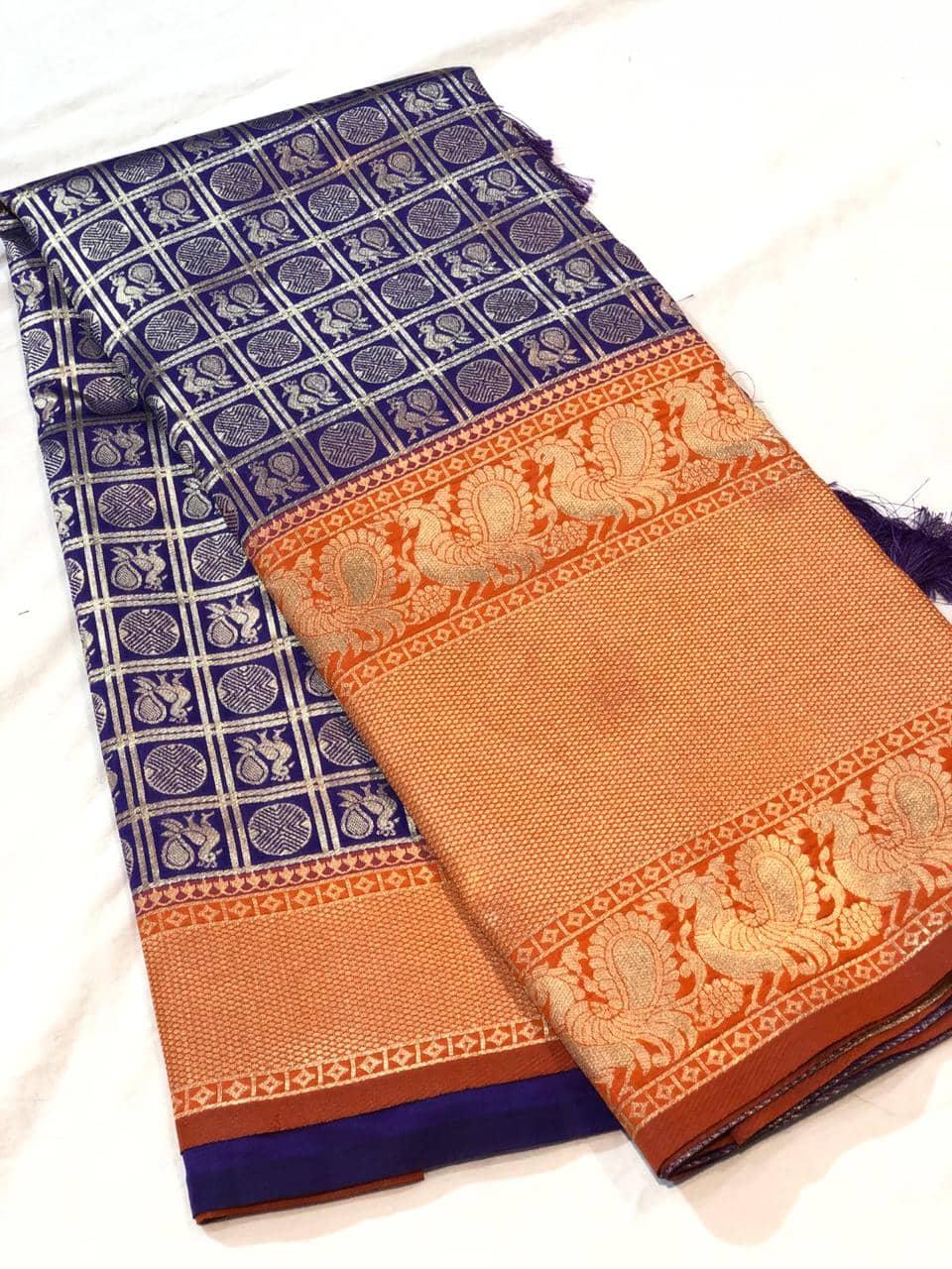 Trending Kanchipuram silk saree in Blue dvz0001610