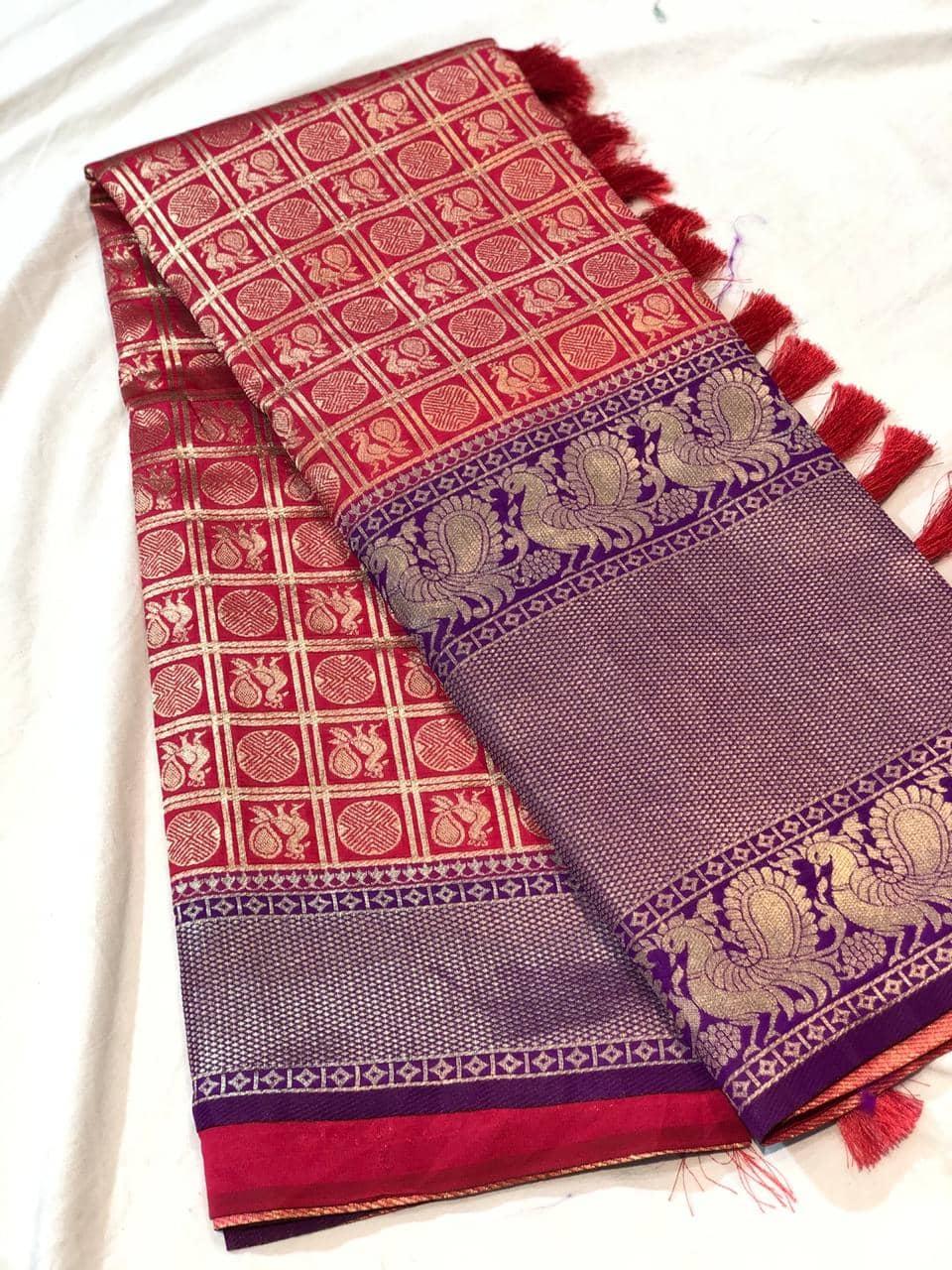 Trending Kanchipuram silk saree in Peach dvz0001617