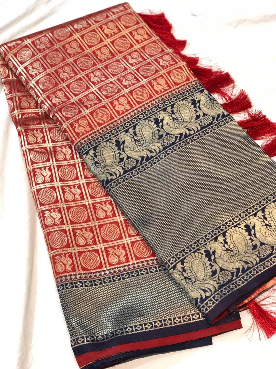 Trending Kanchipuram silk saree in Red dvz0001614