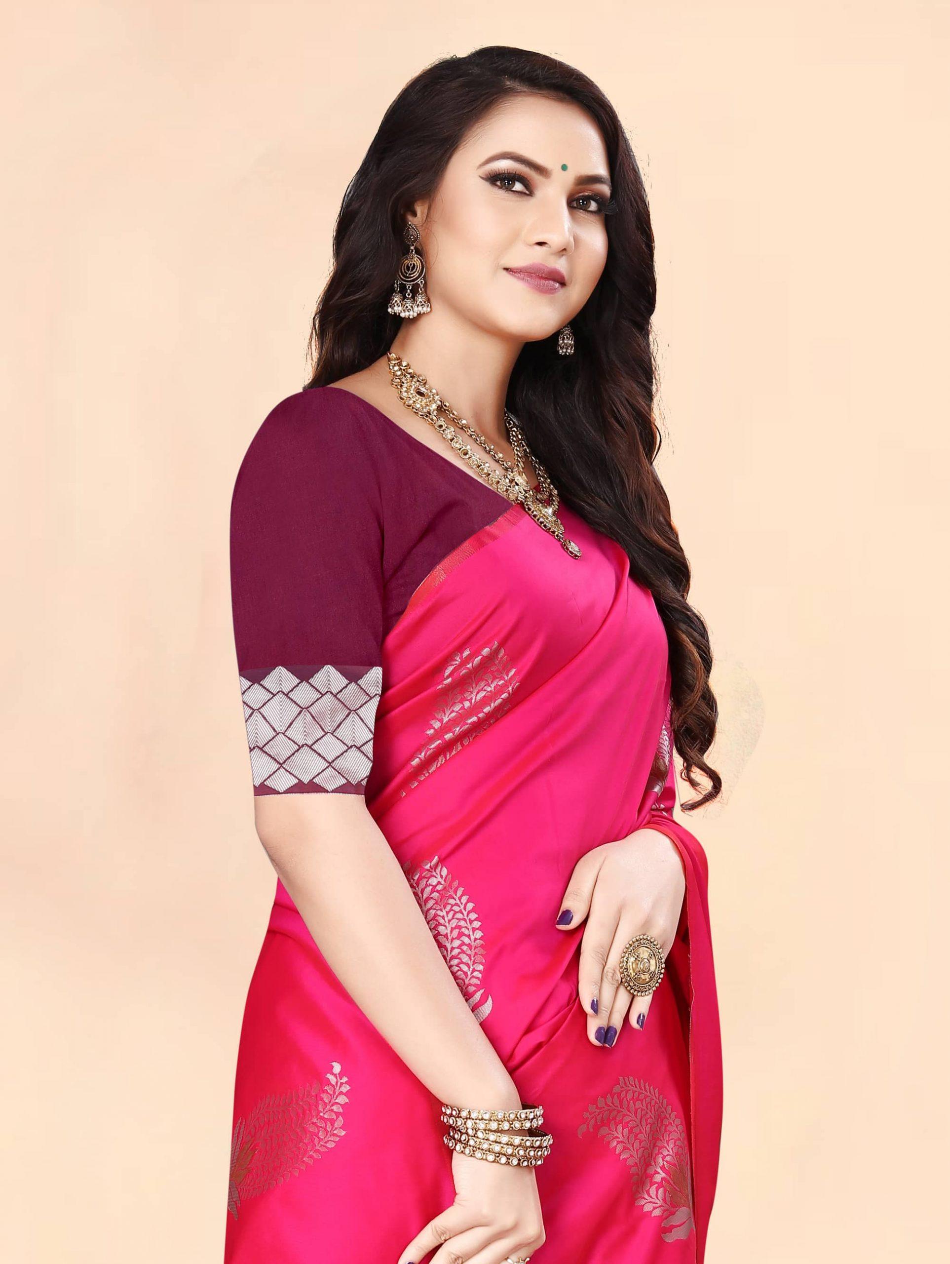 Trending Pink Soft silk woven saree dvz0002284-5