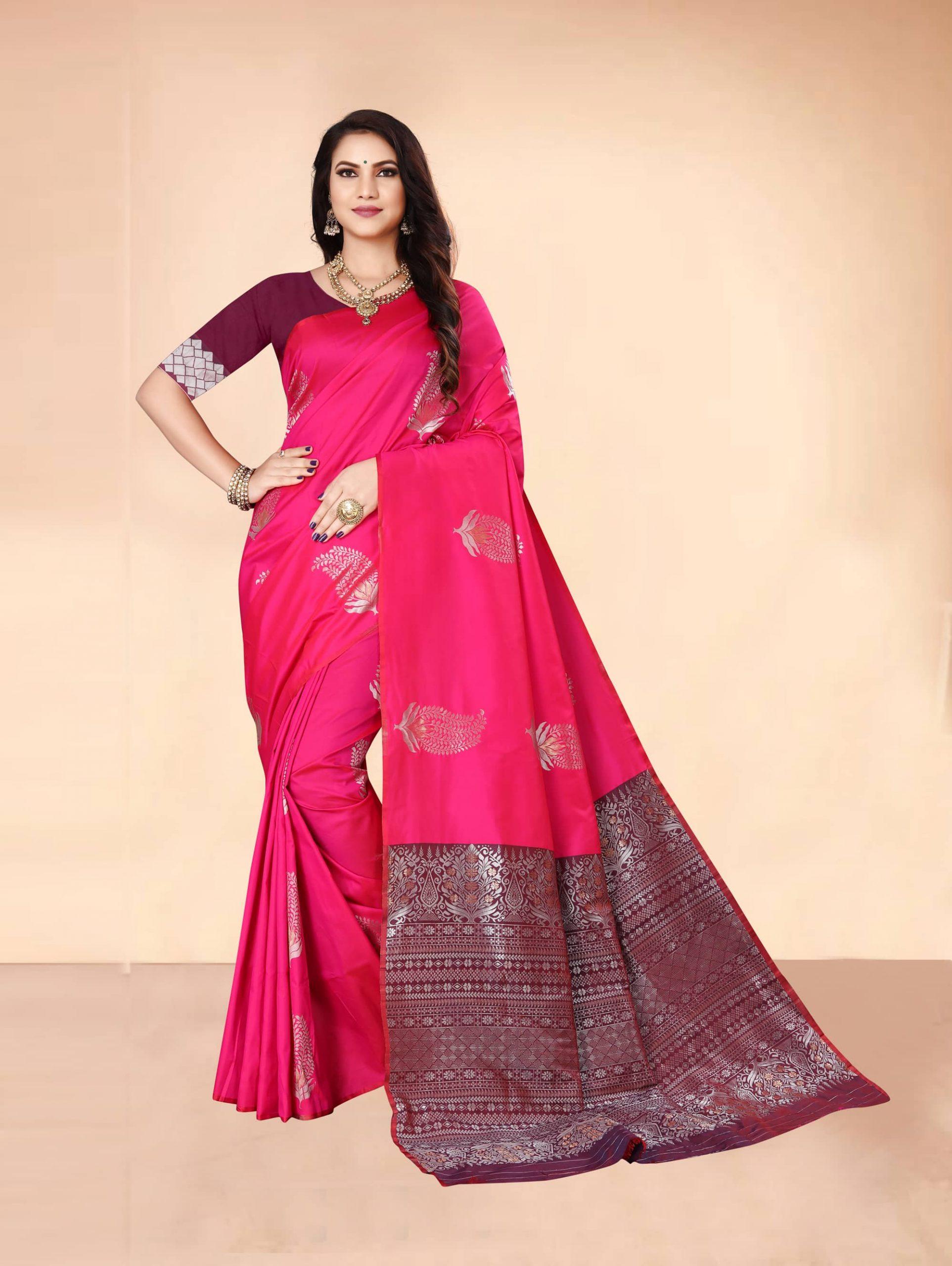 Trending Pink Soft silk woven saree dvz0002284