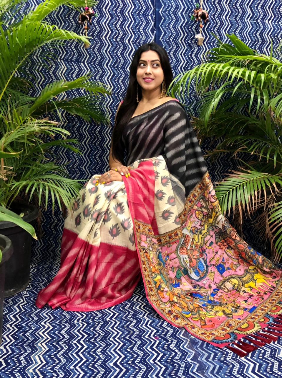 Trending Printed Linen silk saree dvz0002255 lenin sarees collection