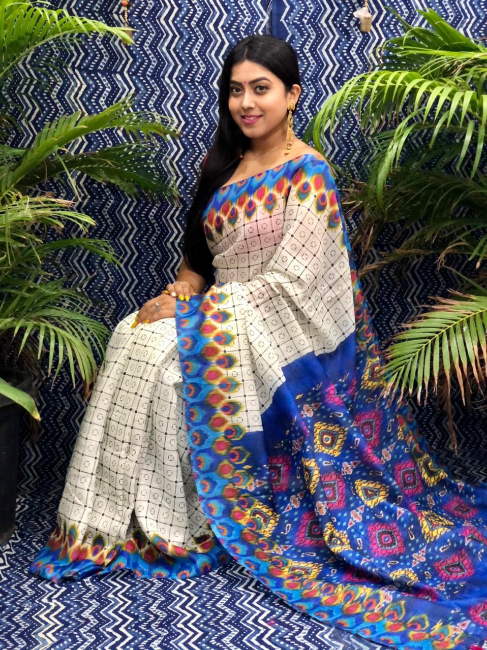 Trending Printed Linen silk saree dvz0002256 linen party wear sarees