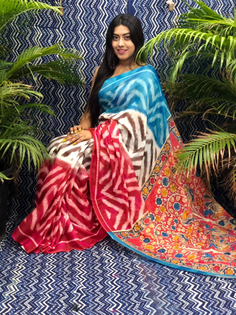 Trending Printed Linen silk saree dvz0002258 linen sarees new model