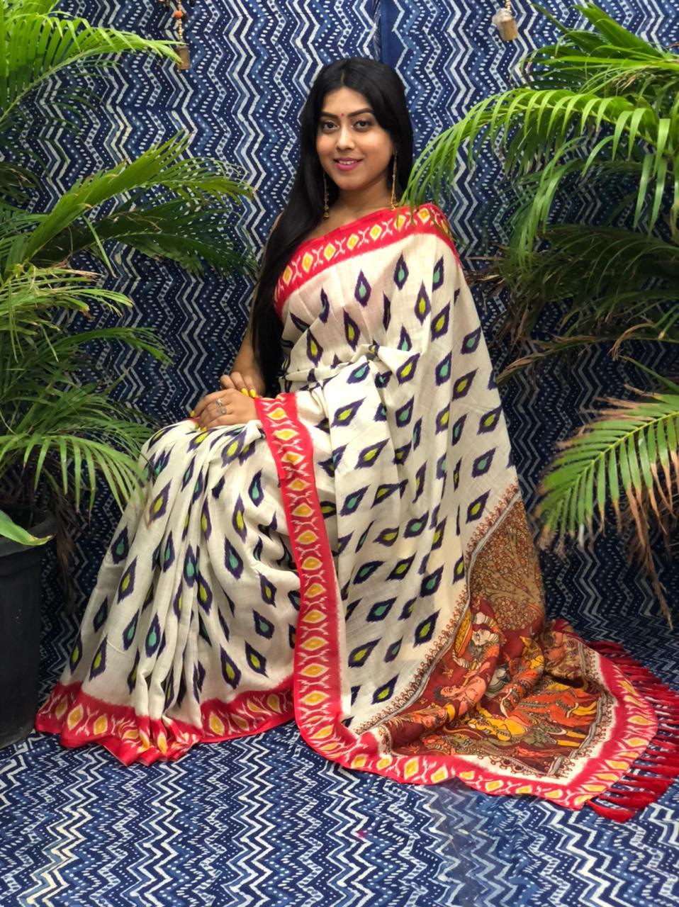 Trending Printed Linen silk saree dvz0002261 fancy linen sarees