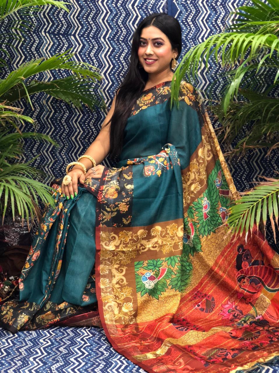 Trending Printed Linen silk saree dvz0002265
