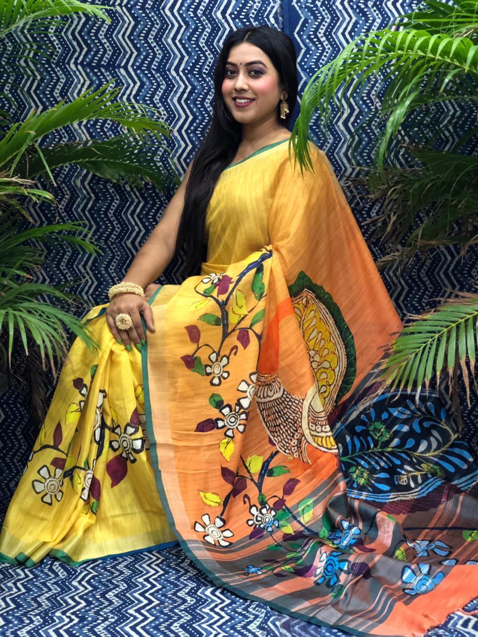 Trending Printed Linen silk saree dvz0002266