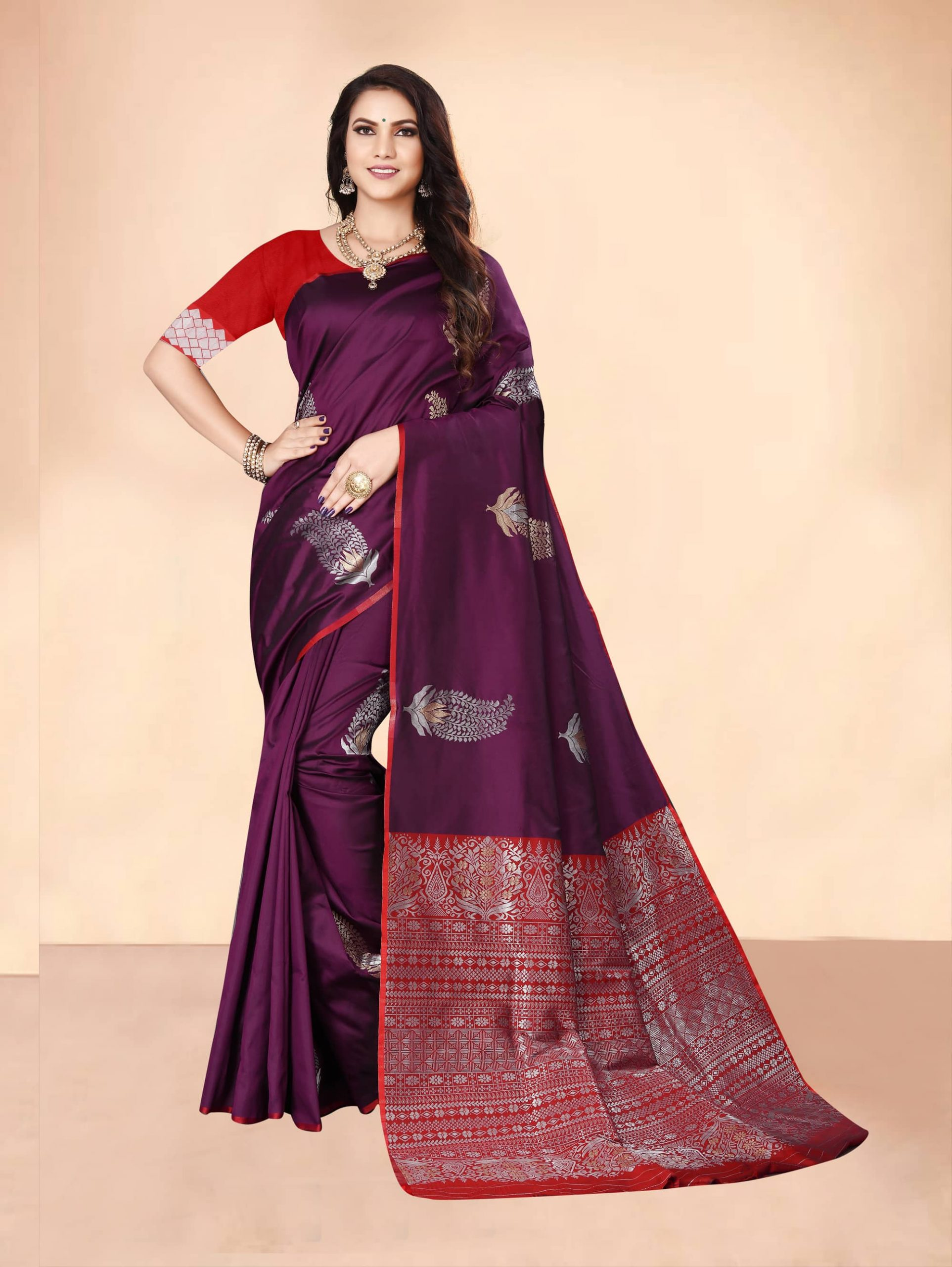 Trending Purple Soft silk woven saree dvz0002282