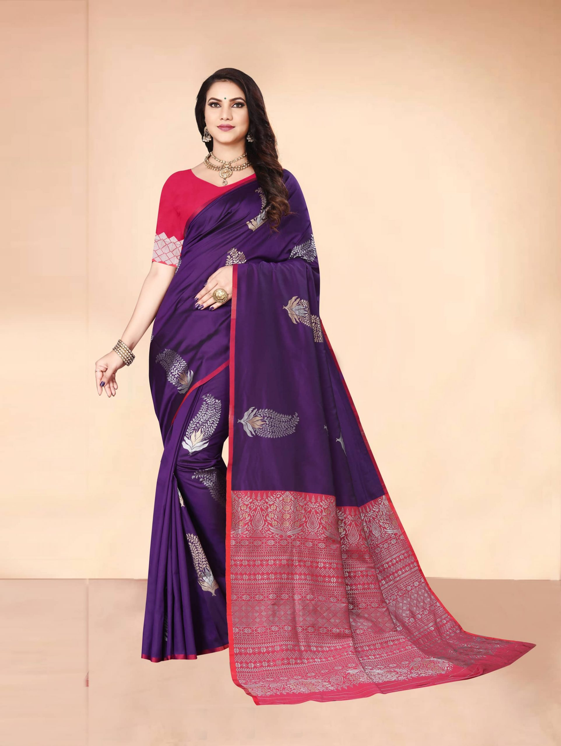 Trending Purple Soft silk woven saree dvz0002283