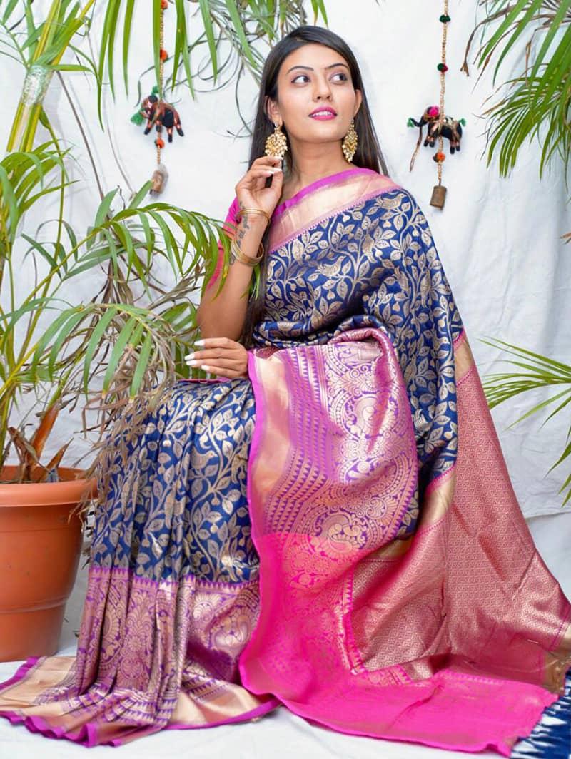 Trending kanjivaram soft silk saree in Blue dvz0002144