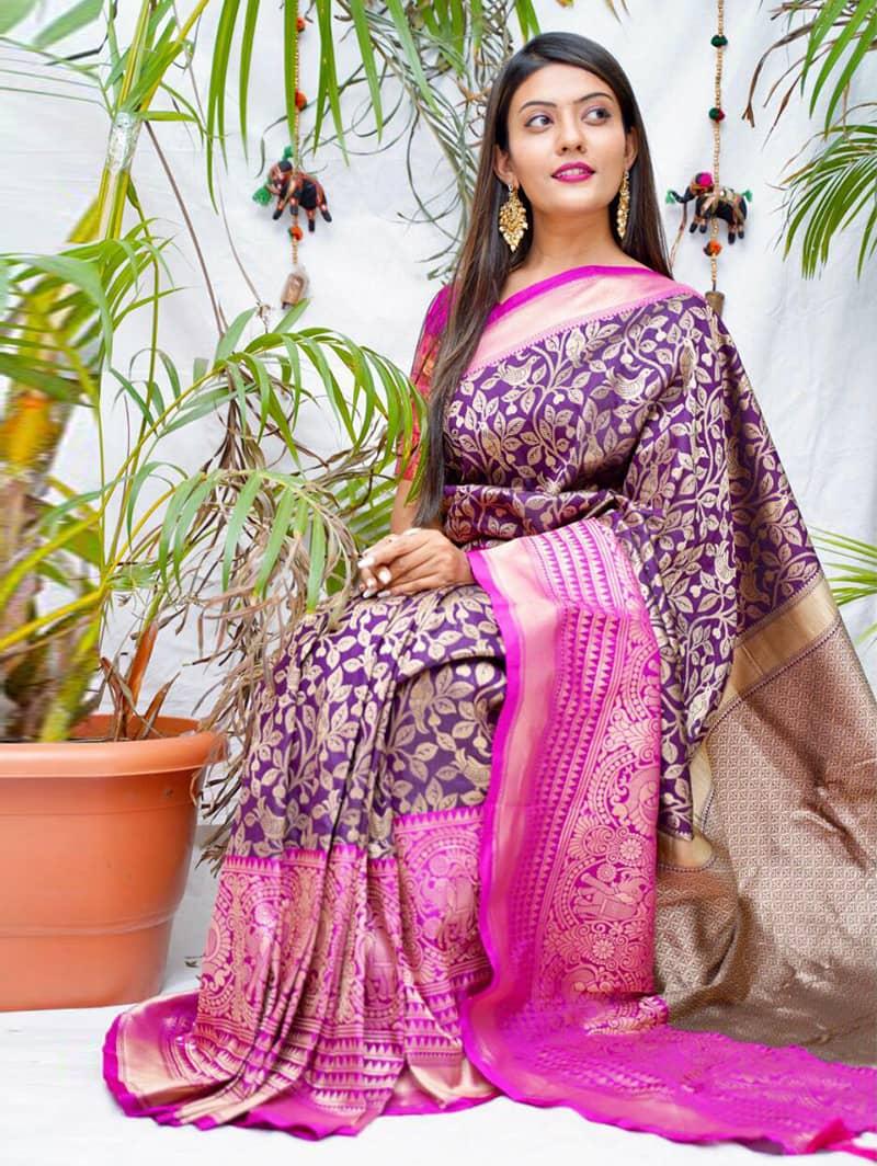 Trending kanjivaram soft silk saree in Purple dvz0002147