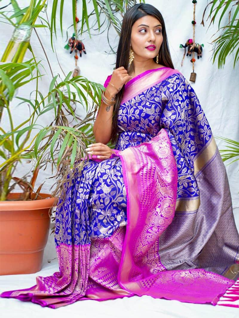 Trending kanjivaram soft silk saree in purple dvz0002146