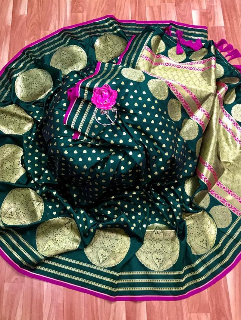 Trendy Banarasi Soft Silk Saree in Green dvz0002497