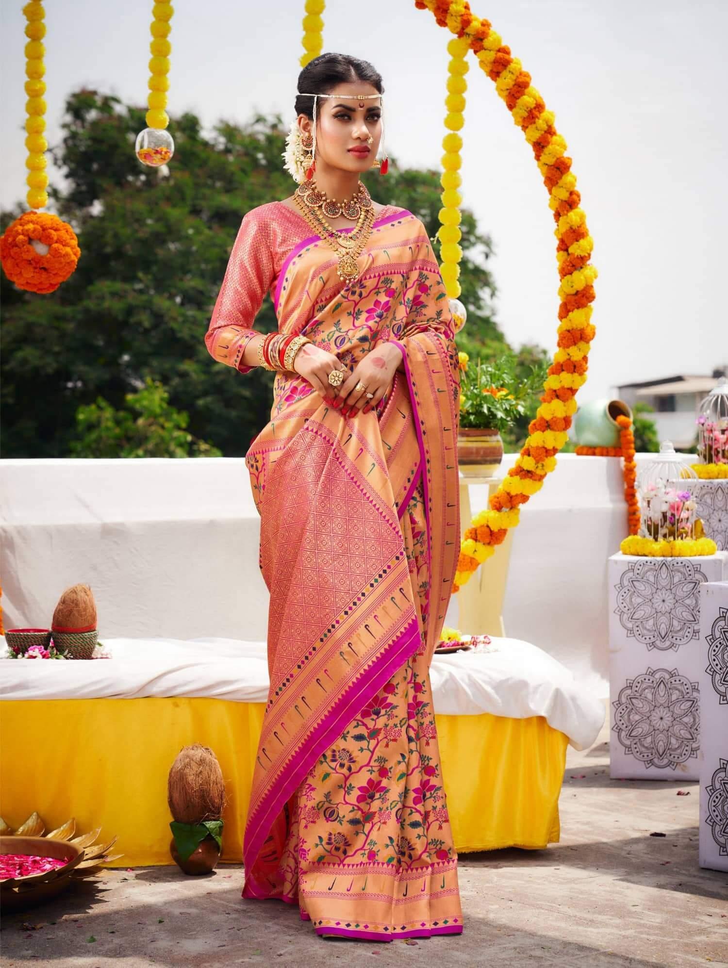 Unique Kanchipuram Silk Bridal Saree dvz0002470