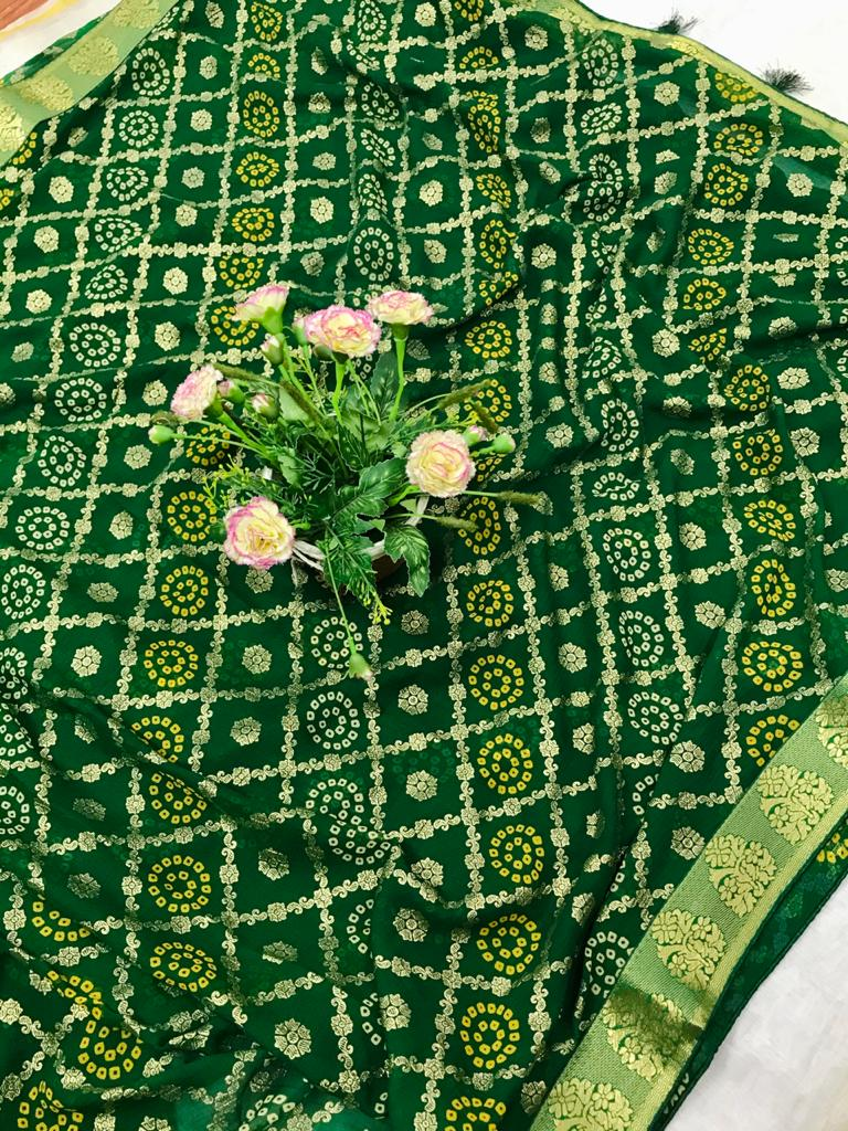 Unique marbal chiffon printed Green Saree dvz0002487