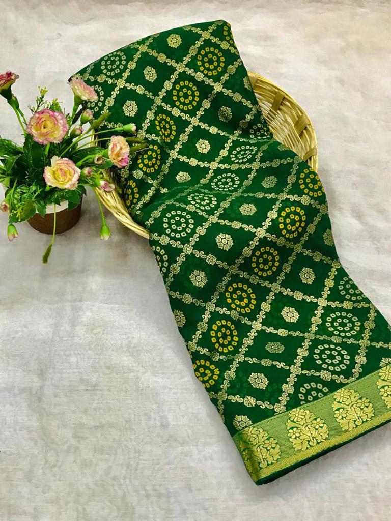 Unique marbal chiffon printed Green Saree dvz0002488