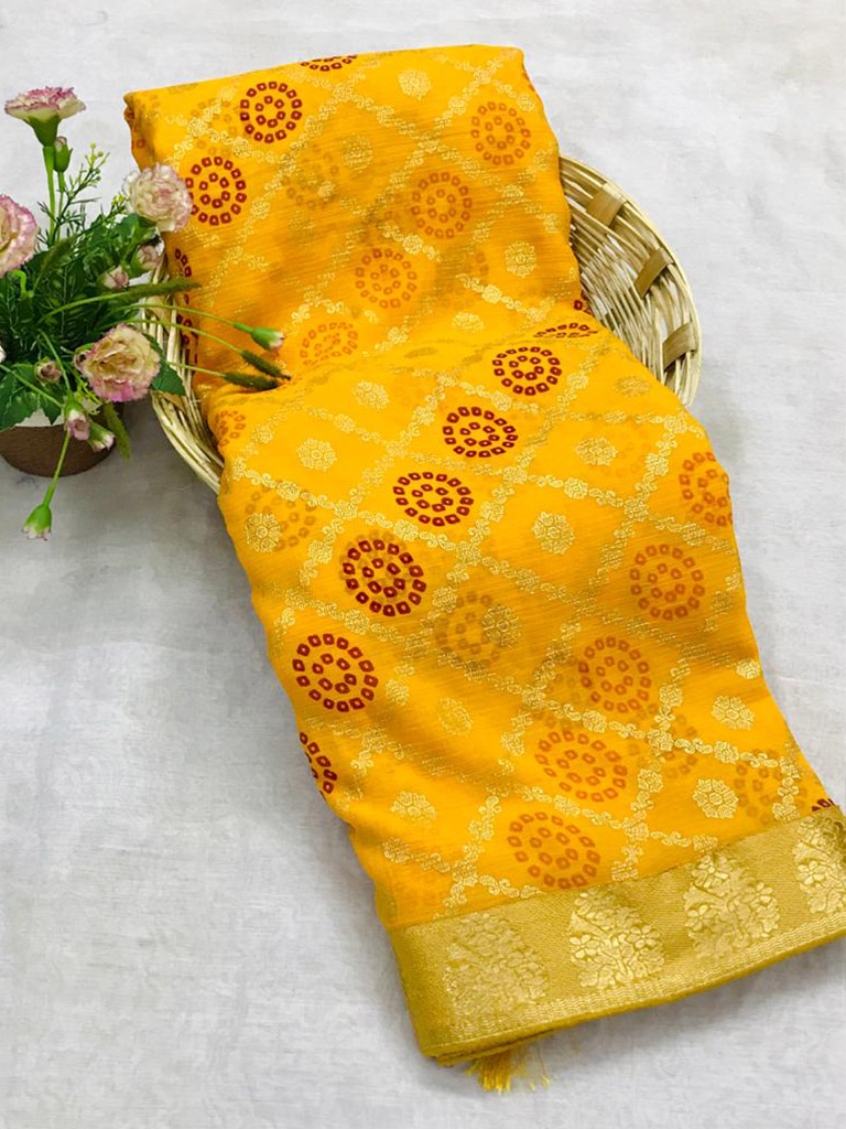 Unique marbal chiffon printed Yellow Saree dvz0002492