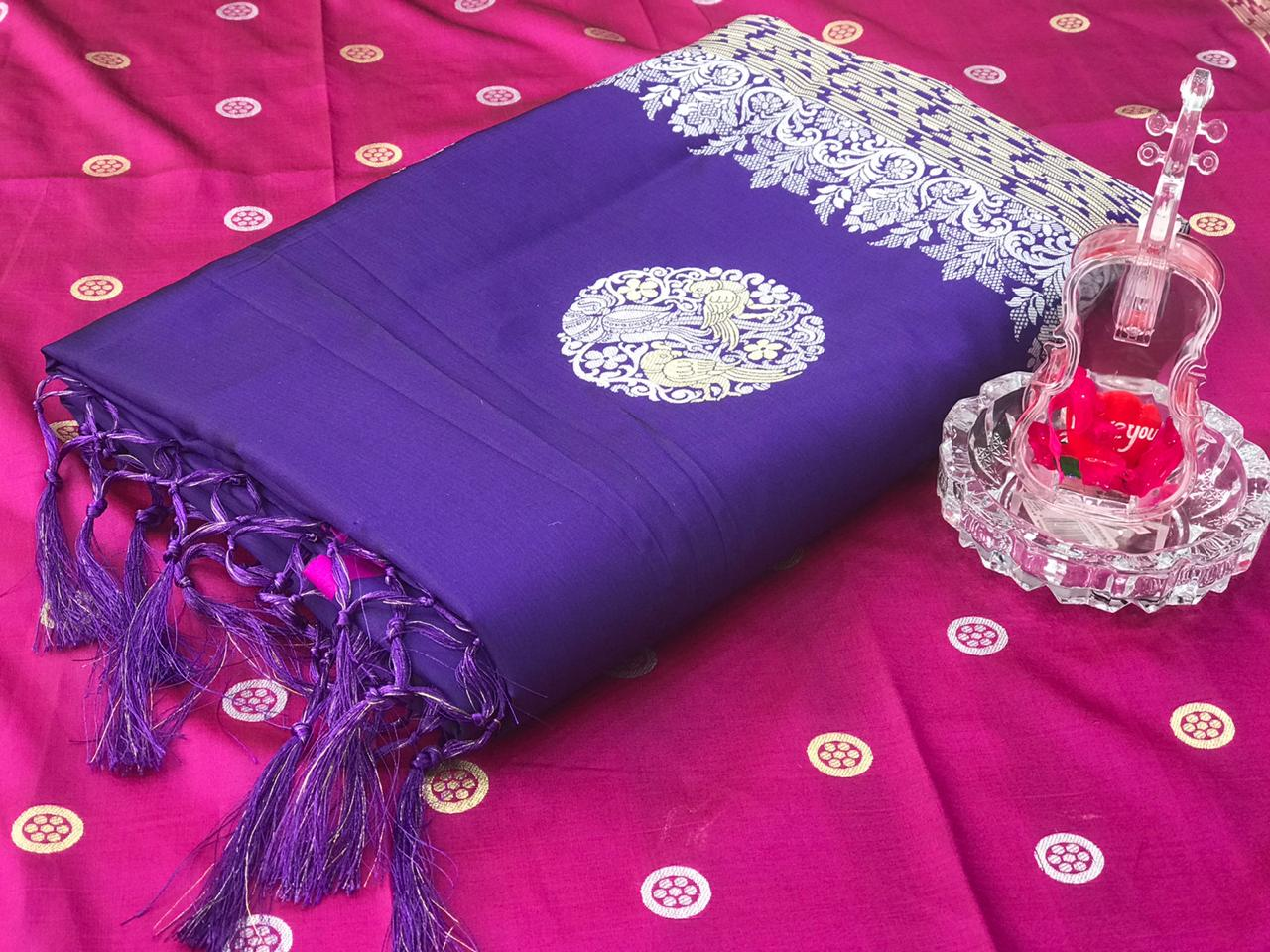 Violet Banarasi silk weaving jacquard saree dvz0001237