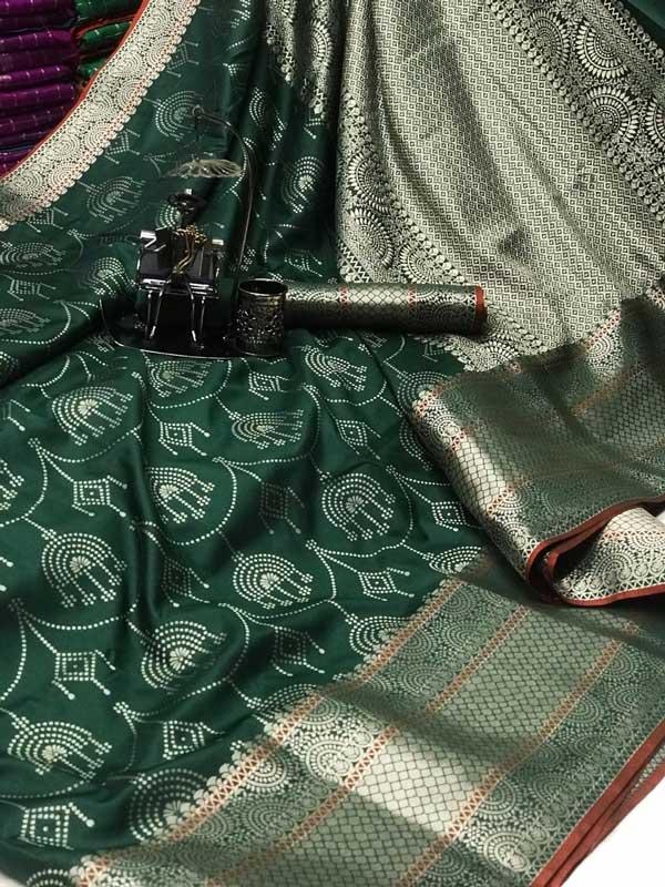 Women's Banarasi silk Jacquard saree (Green) - silk sarees online india dvz0001214