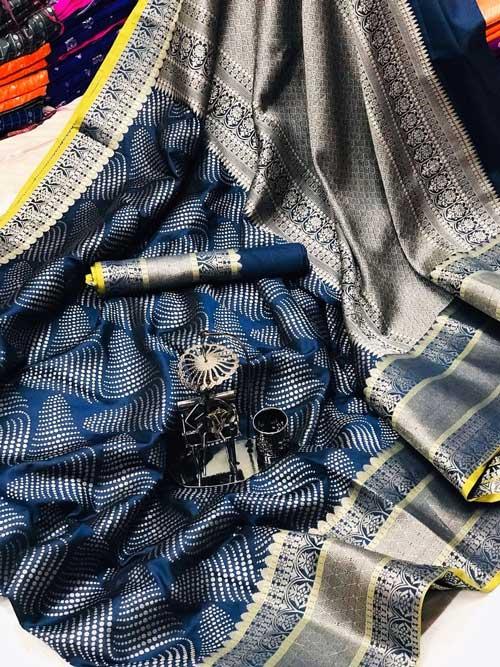 Women's Banarasi silk Jacquard saree (Navy Blue) - silk sarees online india dvz0001211