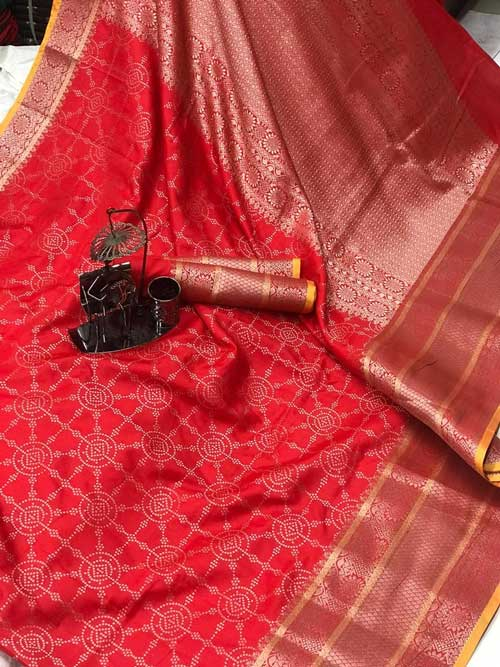 Women's Banarasi silk Jacquard saree (Red) - silk sarees online india dvz0001217