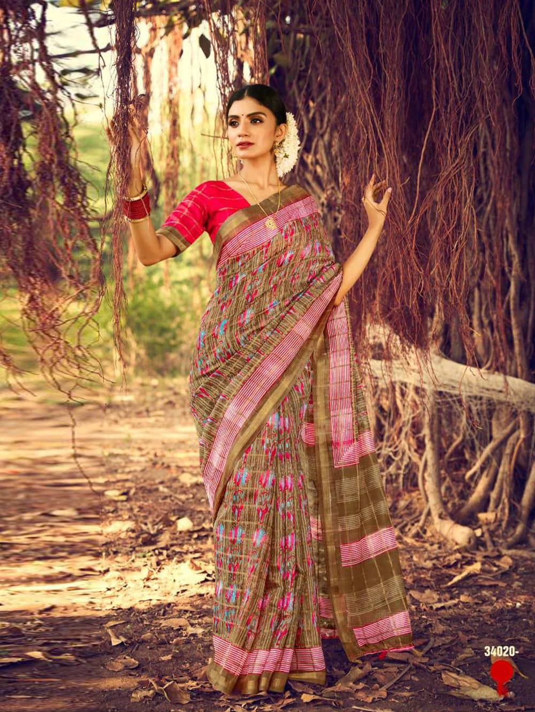 Women's Beautiful Printed Linen check pattern saree dvz0002571