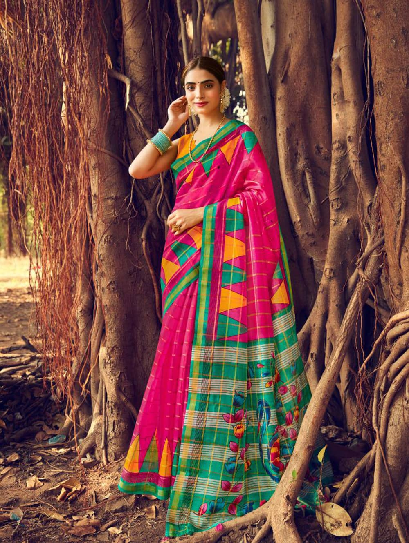 Women's Beautiful Printed Linen check pattern saree dvz0002572