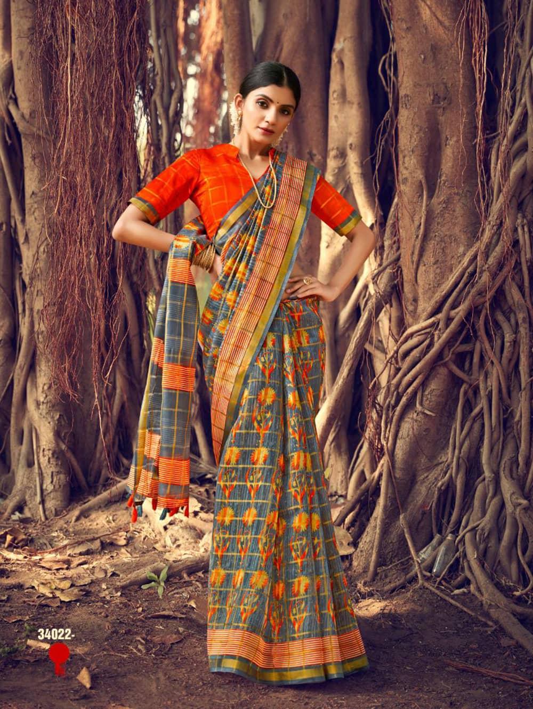 Women's Beautiful Printed Linen check pattern saree dvz0002574