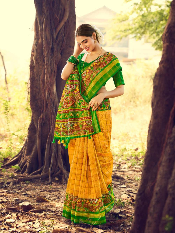 Women's Beautiful Printed Linen check pattern saree dvz0002576