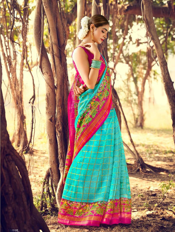 Women's Beautiful Printed Linen check pattern saree dvz0002577