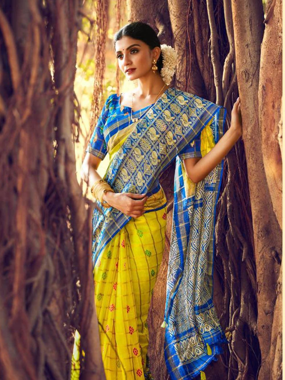 Women's Beautiful Printed Linen check pattern saree dvz0002579-2