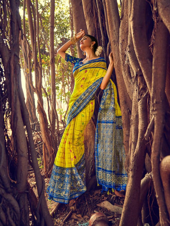 Women's Beautiful Printed Linen check pattern saree dvz0002579