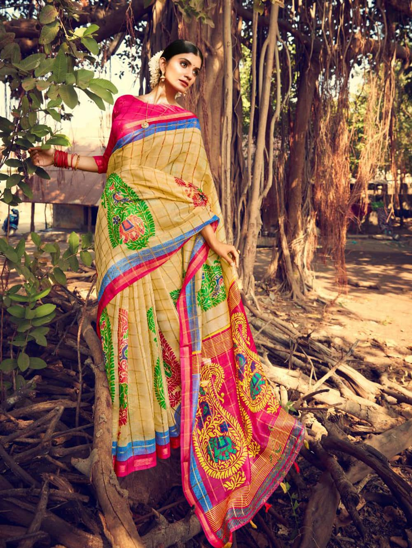Women's Beautiful Printed Linen check pattern saree dvz0002580