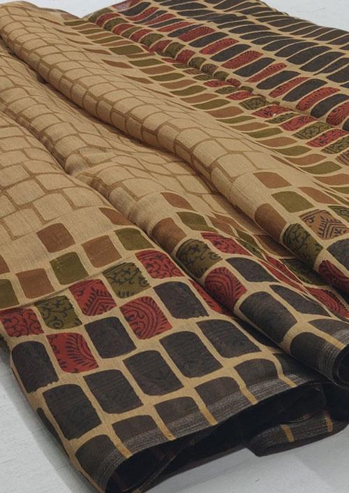 Women's Beige Linen silk saree - Linen silk sarees india - dvz000051