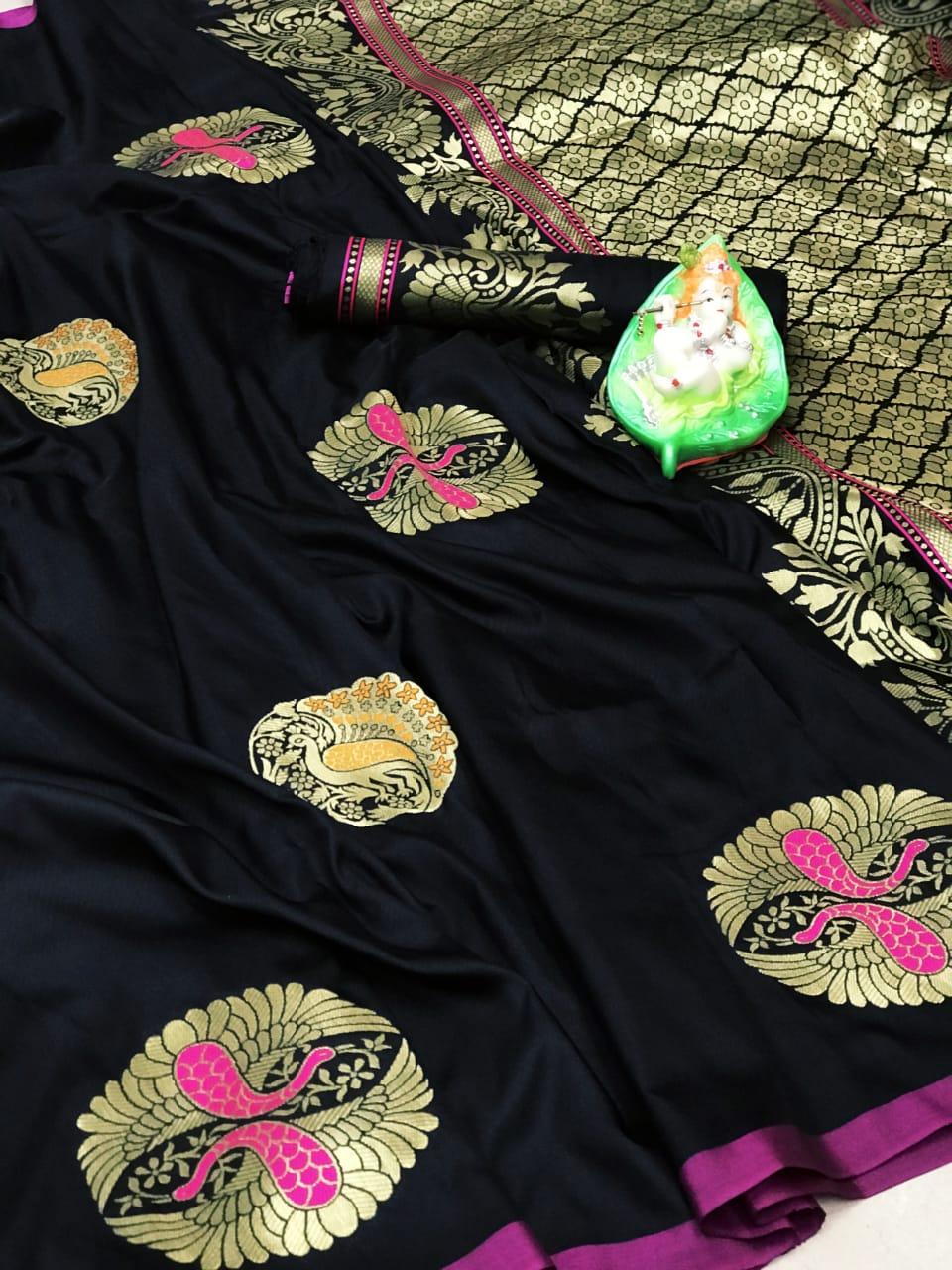 Women's Black Lichi silk Traditional saree dvz0002310