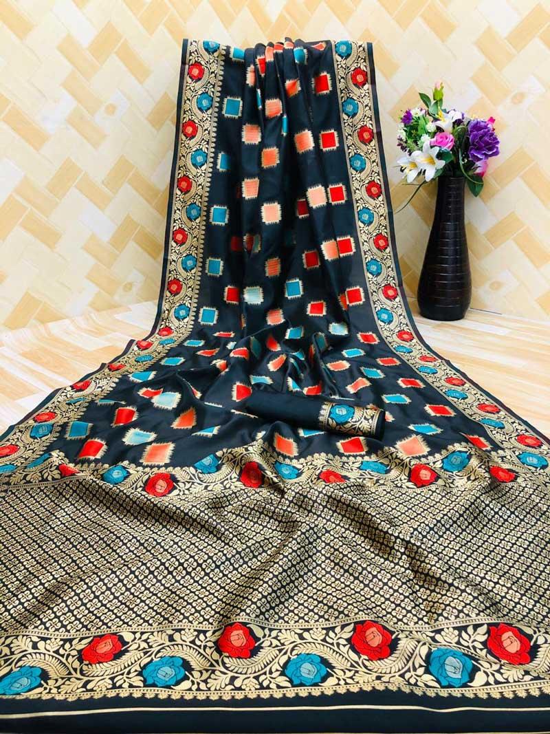 Women's Black zari weaving Party wear saree dvz0001293